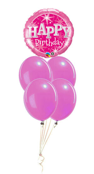 Bouquet With Latex Balloons Happy Birthday For Girl 12 30cm